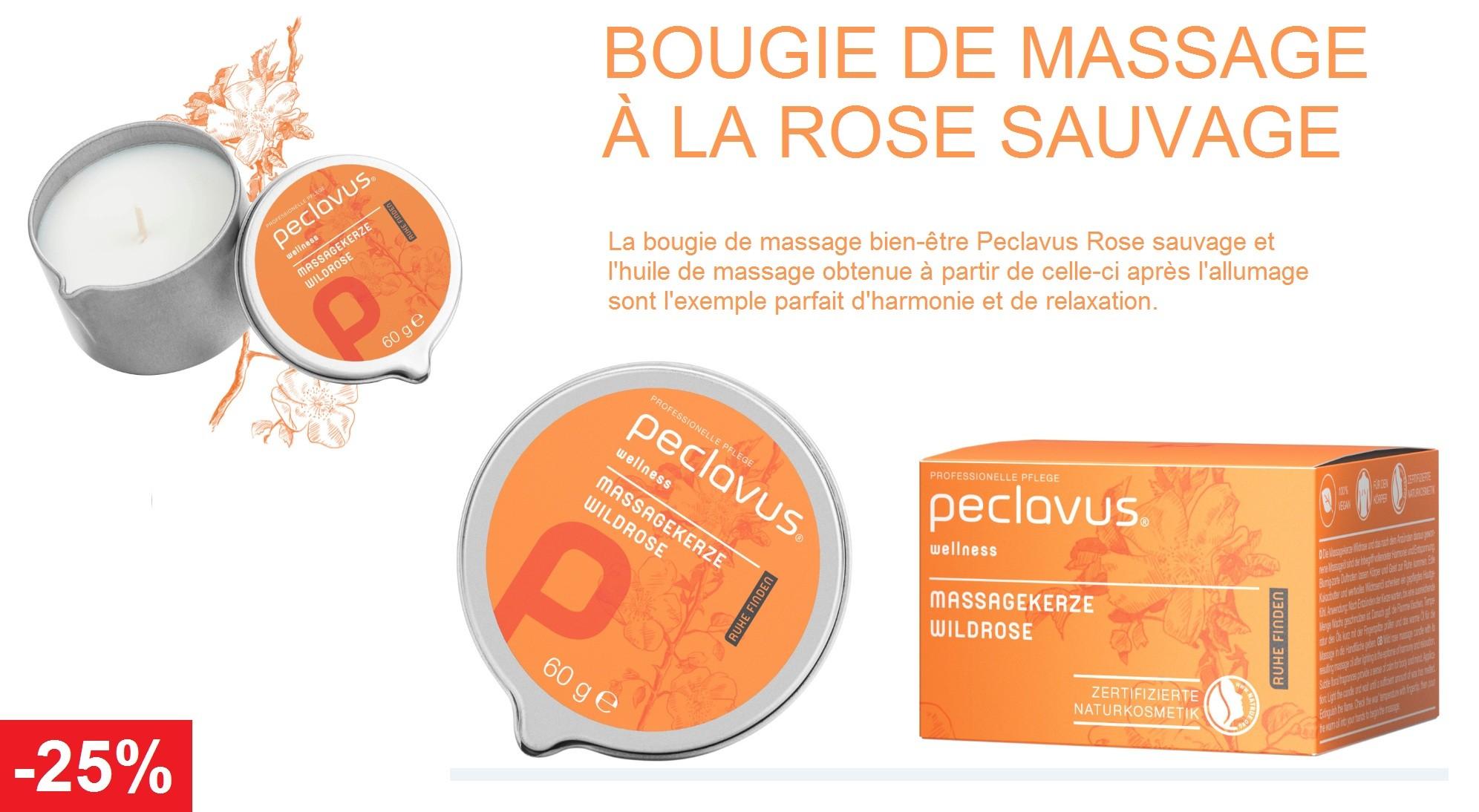 La bougie de massage bien-être Peclavus Rose sauvage et l'huile de massage obtenue à partir de celle-ci après l'allumage sont l'exemple parfait d'harmonie et de relaxation.